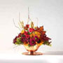 fall arrangement with autumn colored flowers such as mini Carnations, Daisy Pompons, Mini Lilies, Aster and Lilies.